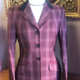 Tan and Baby Blue Plaid with Chocolate Brown Collar with Cream Trim hunter coat