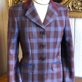 Blue and Lavender Plaid with Navy Suede Collar and Light Blue Trim hunter coat