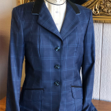 Beautiful Navy Plaid Pattern Hunt Coat with Back Belt